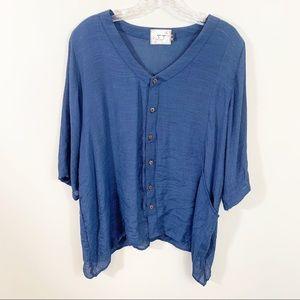 Gaya navy blue silk blend button down top